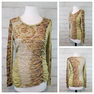 Ness S Green and Brown Ruched Long Sleeve Top